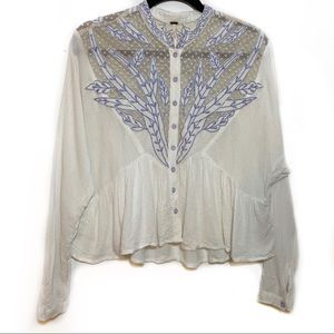 Free People White Button Lace Embroidered Blouse S